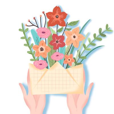 教师节递信封花