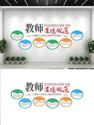 教师职业道德规范校园文化墙设计