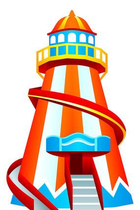 卡通水上乐园灯塔滑梯