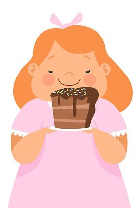 手绘卡通穿公主裙吃蛋糕女孩