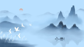 白露中国风山水墨画二十四节气插画背景