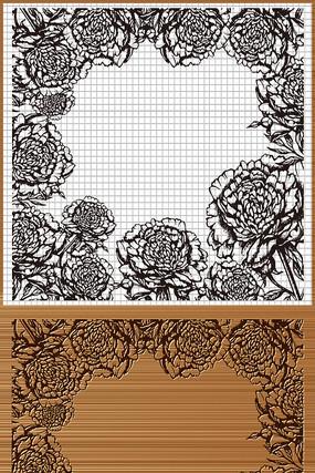 牡丹花花边框矢量雕刻图案
