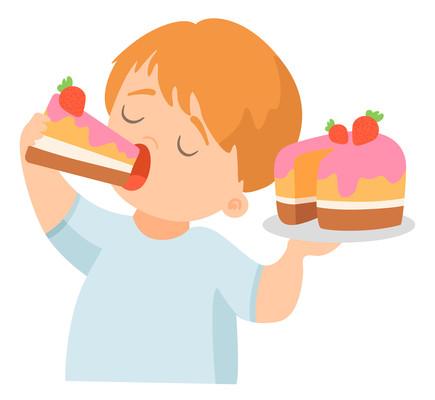 吃蛋糕的小孩卡通高清png免抠元素