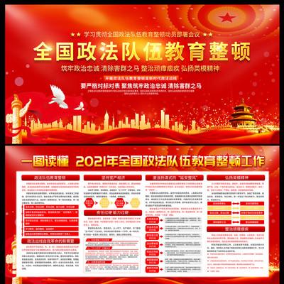 紅色開展全國政法隊伍教育整頓宣傳欄展板