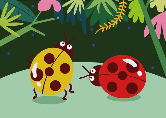 七星瓢虫儿童插画贴纸画拼图包装简约风