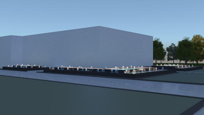 现代夜景喷泉模型