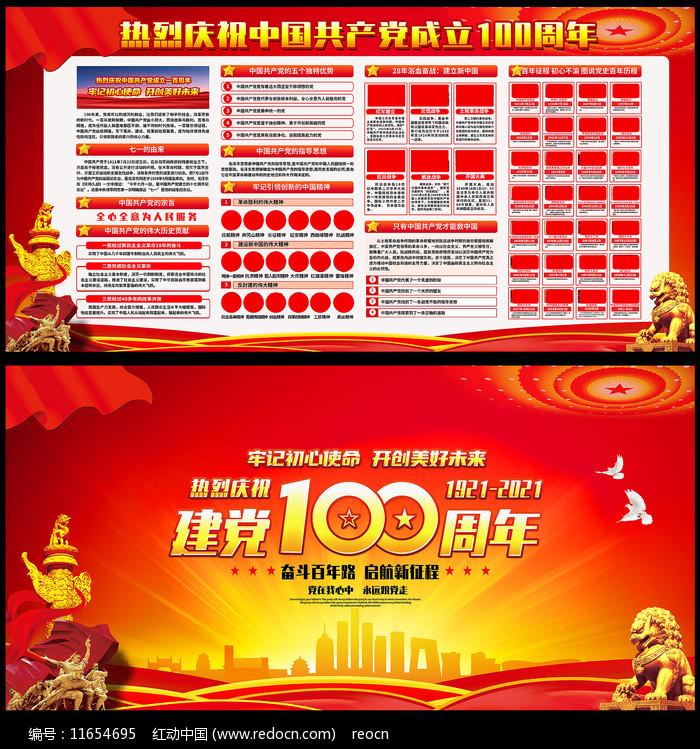 热烈庆祝建党100周年展板图片