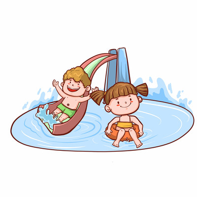 蓝色男孩女孩冲浪水上乐园游玩-插画