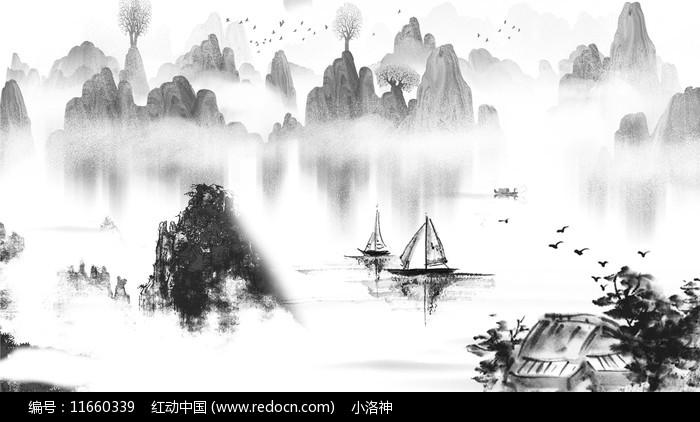 水墨古风重阳节山水图片