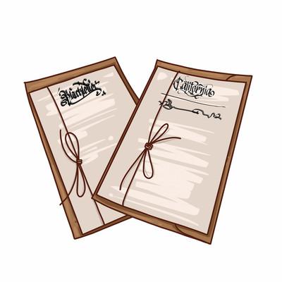 棕色哥特字体信封两张-素材