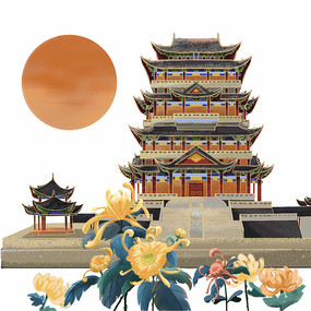 国潮建筑与菊花重阳节免抠元素