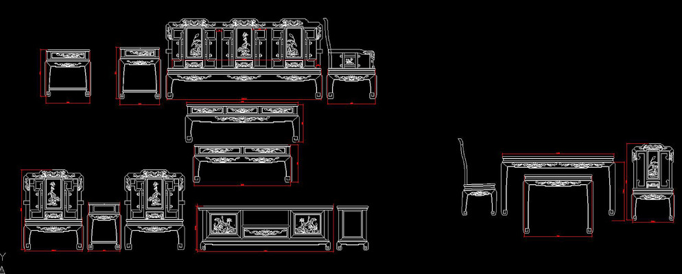 荷花沙发电视柜餐桌椅CAD图纸
