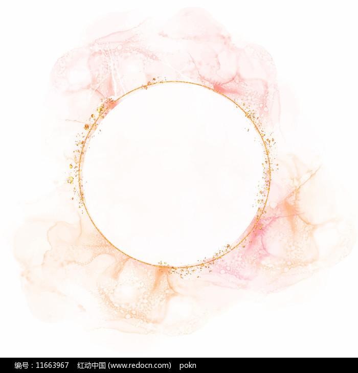 水彩花圈边框素材图片