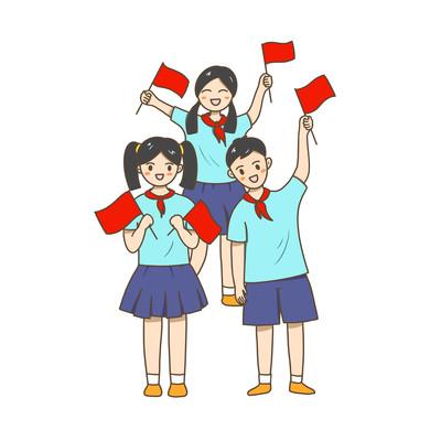 国庆节卡通学生人物
