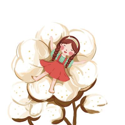 暖色可爱小女孩躺在棉花上插画