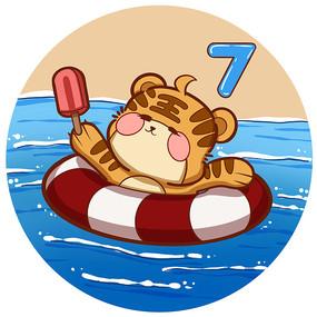 7月日历虎年2022年夏天游泳雪糕老虎