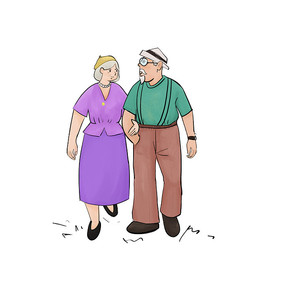 夫妻温馨关爱老人重阳节