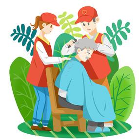 关爱老人志愿者老人剃头重阳节