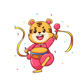 国潮风老虎敲锣打鼓庆新年