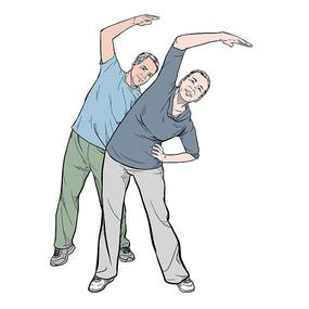 老年人开心的做操重阳节关爱老人