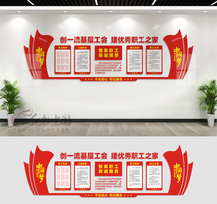 企业职工之家文化墙展板