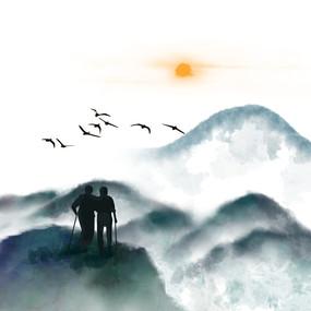 水墨重阳节山水秋季节日元素