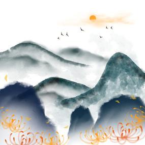 水墨重阳节山水秋天温暖菊花