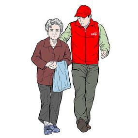 志愿者帮助老人过马路重阳节关爱老人