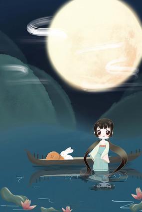 中秋节赏月女孩和玉兔