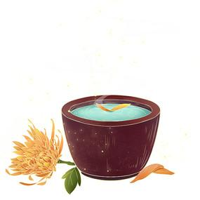 重阳节菊花和茶杯国潮风PNG素材