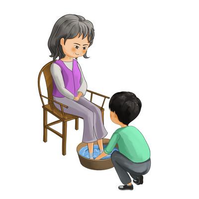 帮长辈奶奶洗脚的孩子敬老免扣元素