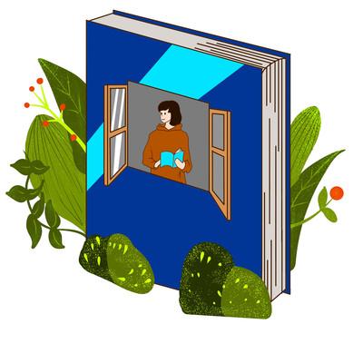 教师节创意书本花草元素插画