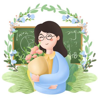 教师节捧花元素