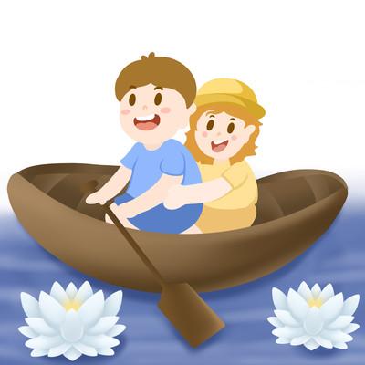 男孩女孩划船元素