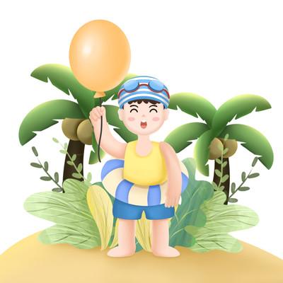 男孩沙滩拿气球元素