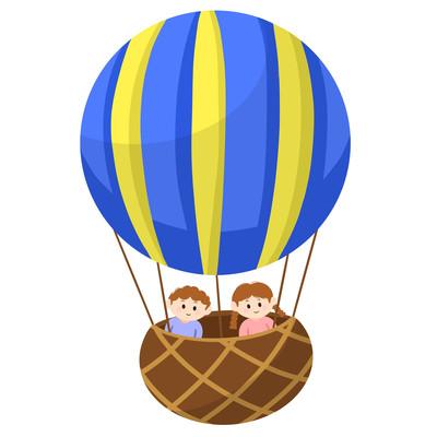 热气球儿童卡通蓝色手绘漂浮热气球