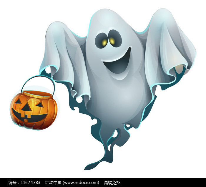 万圣节幽灵提着南瓜灯图片
