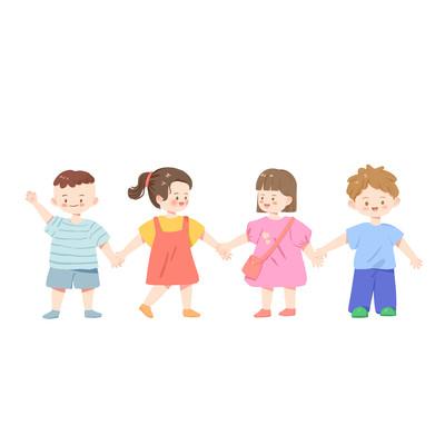 扁平风儿童们一起上学或手拉手玩耍