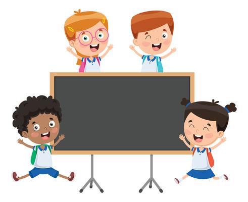 卡通学生与黑板