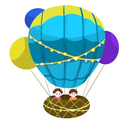 热气球儿童蓝色灯光手绘卡通热气球