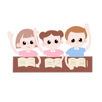 上课举手回答的儿童彩色漫画风