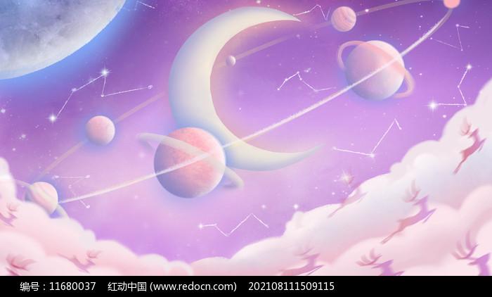 唯美粉紫色创意天空和星空插画图片