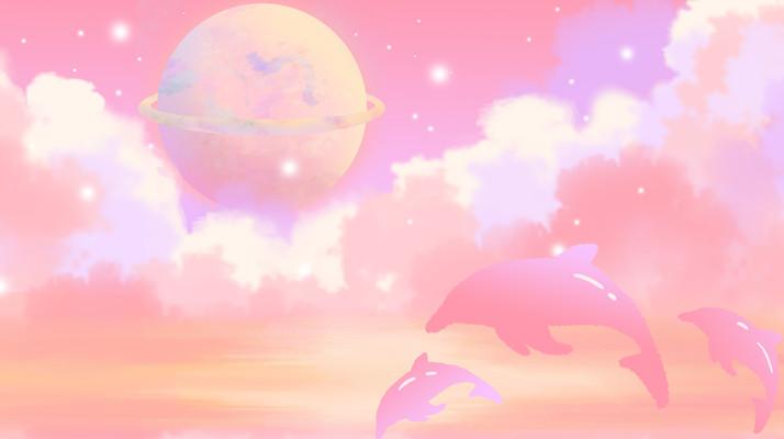 唯美远景星空鲸鱼小清新肌理插画