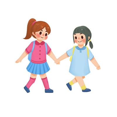 温馨儿童手拉手一起欢快上学