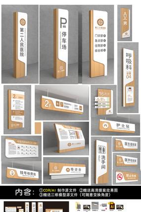 中医院VI导视牌景区导视系统原木标牌设计