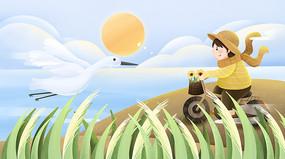 白露小清新女孩骑自行车插画