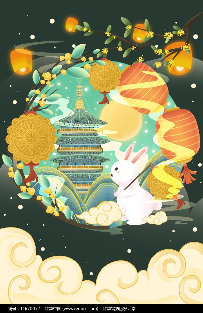 中秋氛围玉兔月饼插画图片