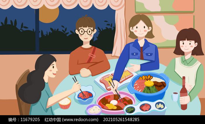 中秋团圆聚餐插画图片