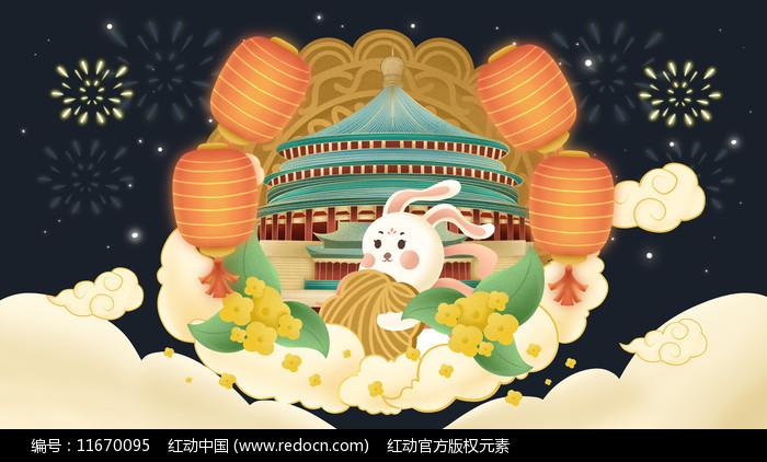 中秋玉兔灯笼建筑插画图片