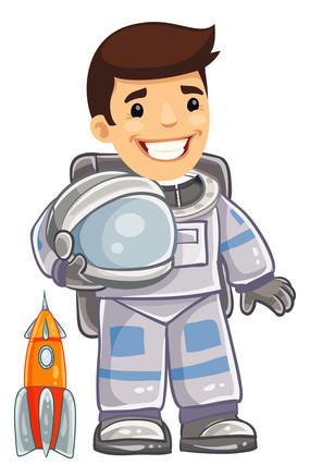 手绘卡通宇航员元素